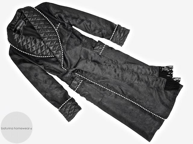 mens black paisley silk dressing gown quilted smoking jacket robe gentleman