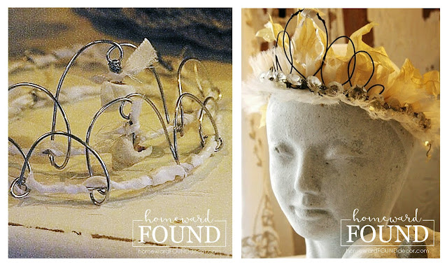 DIY,jewelry,junking,junk makeover,original designs,Mother's Day,re-purposing,seashells,trash to treasure,up-cycling,vintage,spring,flowers,daffodils,daffodil crown,crowns,tiaras,Junk Queen crowns,spring decor,spring gifts,birthday crown, spring crown.