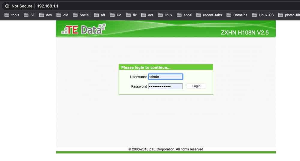 الدخول الى صفحة اعدادات راوتر تي اى داتا شركة وي
