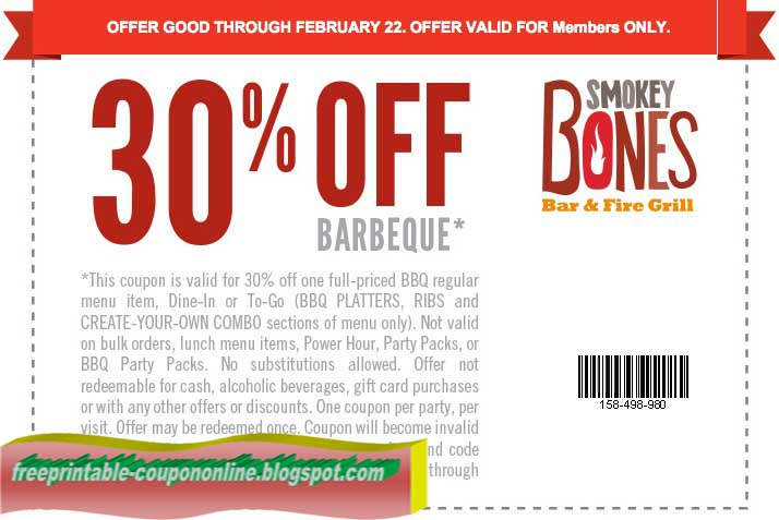 Smoky bones coupons