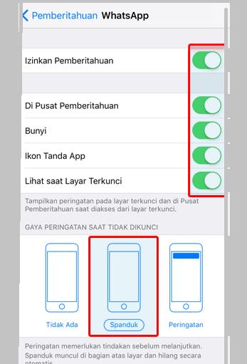 Izinkan Notifikasi WhatsApp iOS