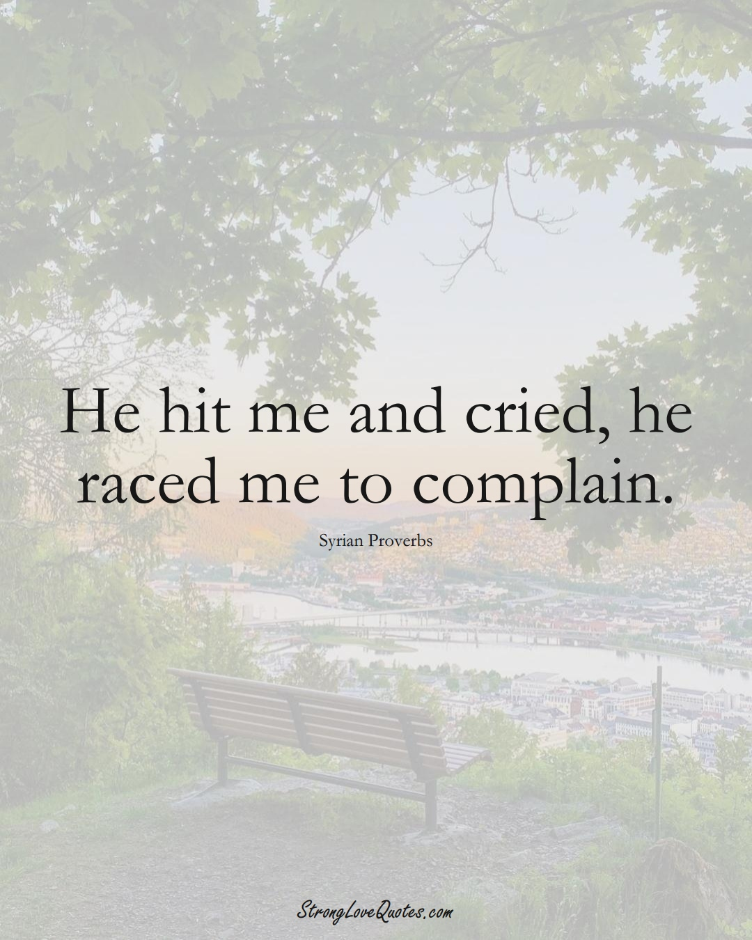 He hit me and cried, he raced me to complain. (Syrian Sayings);  #MiddleEasternSayings