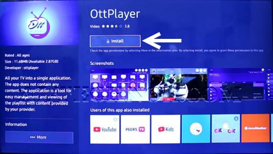How install OTT Player on Samsung Smart Tv free alternarive