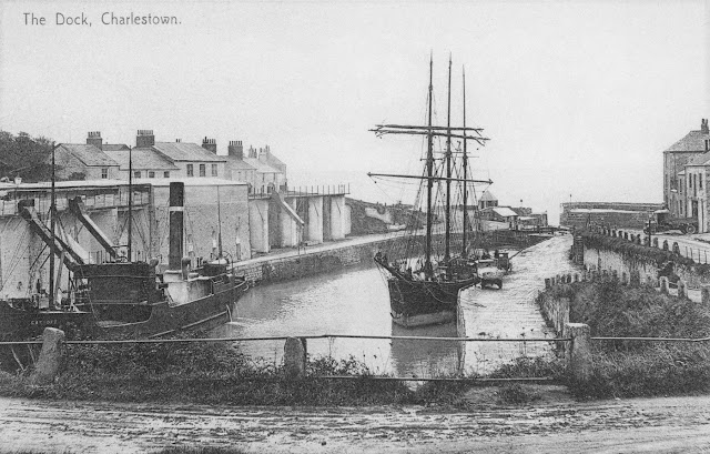 Old photo of Charlestown harbour, Cornwall