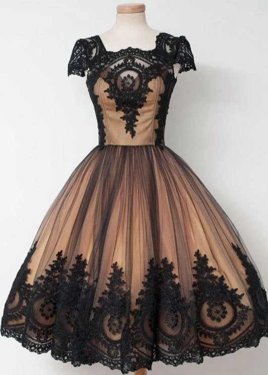 Black Lace 50s Style Short Vintage Prom Dress