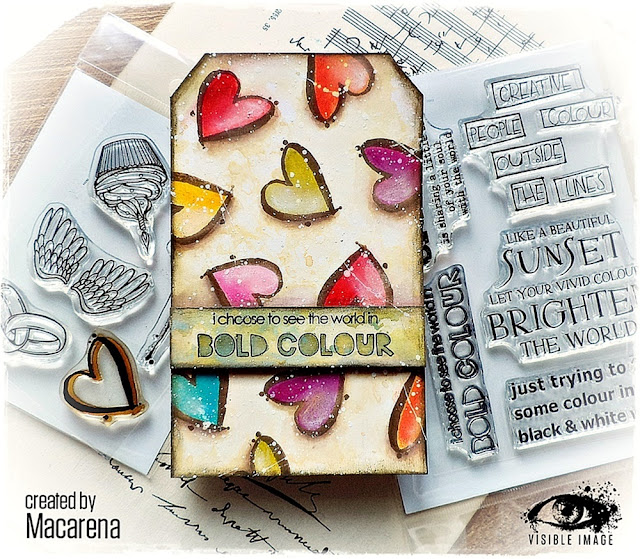 heart stamp | mixed media tag | distress oxides | i choose bold colour