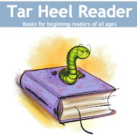 image of a worm with glasses on top of a book with words Tar Heel Reader in text box above