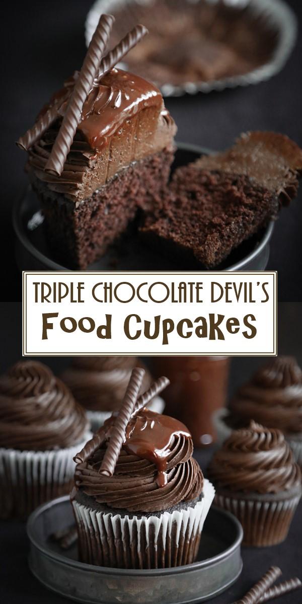 Triple Chocolate Devil's Food Cupcakes #cupcakerecipes