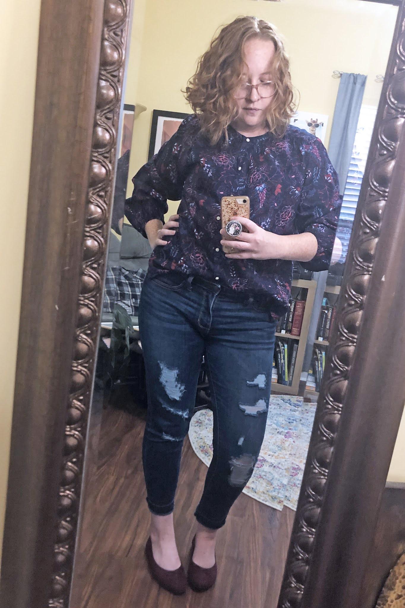 navy printed blouse distressed skinny jeans