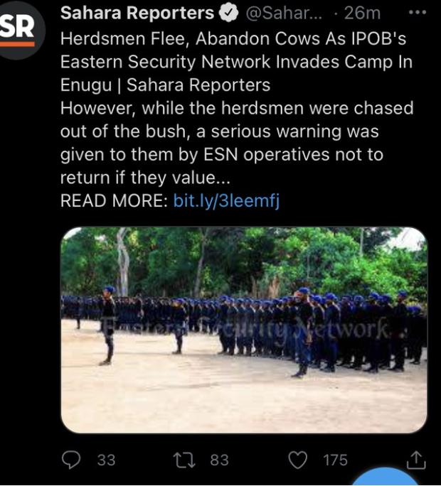 Herdsmen Flee, Abandon Cows As Ipob's ESN Invades Camp In Enugu