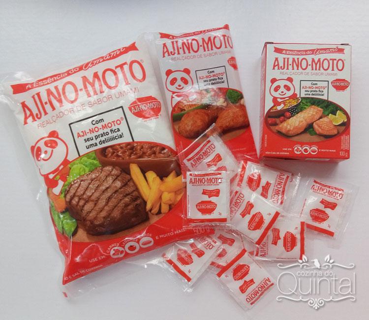 Recebi 3 opções do AJI-NO-MOTO: realçador de sabor umami da Ajinomoto
