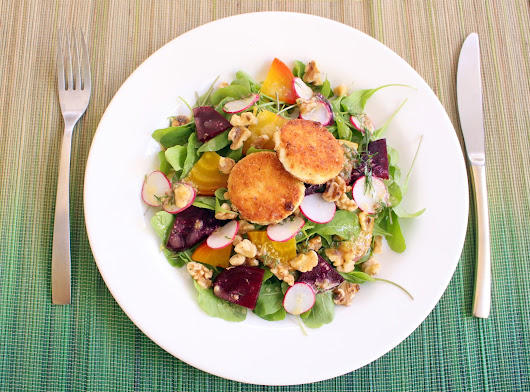 Arugula & Roasted Beet Salad + Fried Goat Cheese