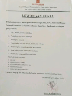 Lowongan Kerja Borobudur Dept Store Tasikmalaya Terbaru 2020