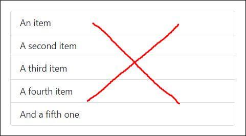 contoh bootstrap 5 list default
