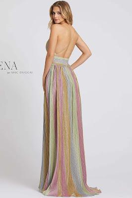 v-neckline Ieena for Mac Duggal evening dress Multi Color back side