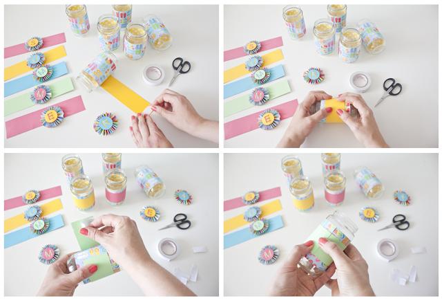 decorar tarros con papeles de scrapbooking