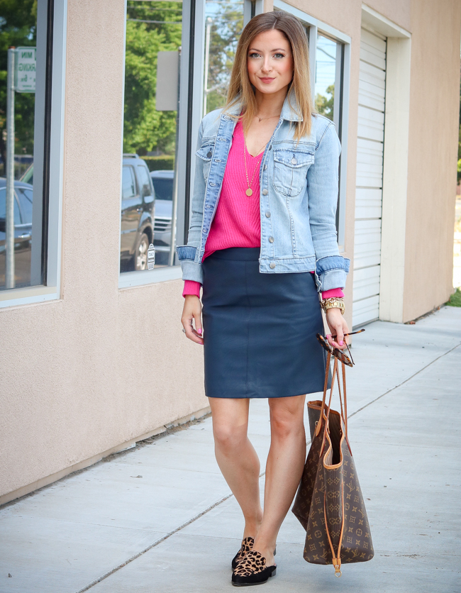 bp. pink sweater topshop navy skirt leopard loafers