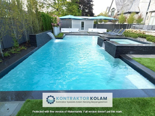 desain kolam renang rectangular pool Pekanbaru