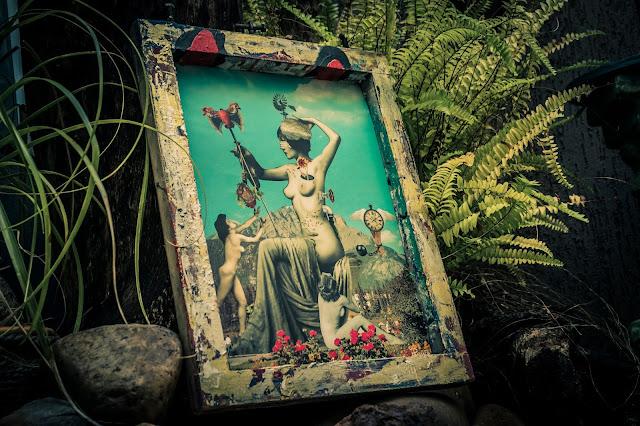 quadro com deusa pagã na natureza