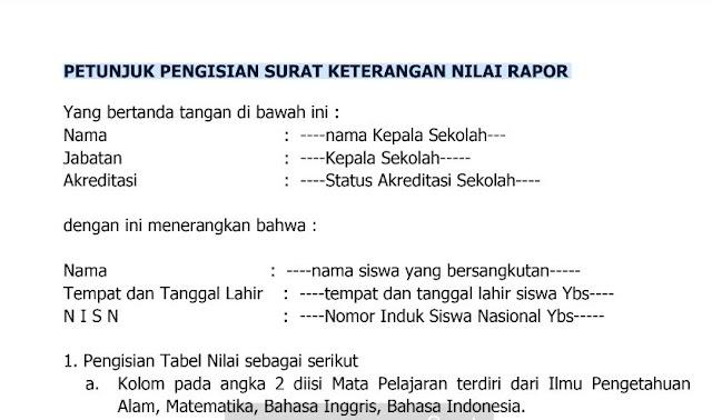 Petunjuk Pengisian Surat Keterangan Nilai Raport SMP Syarat PPDB SMK