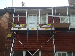 Temporary Scaffolding at the front of our house