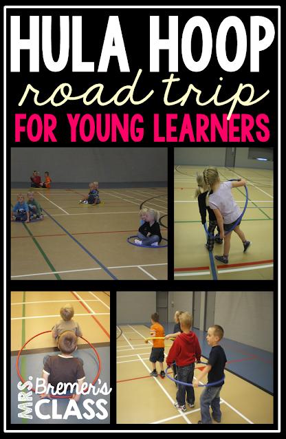 Hula hoop car road trip activity for PE in Kindergarten