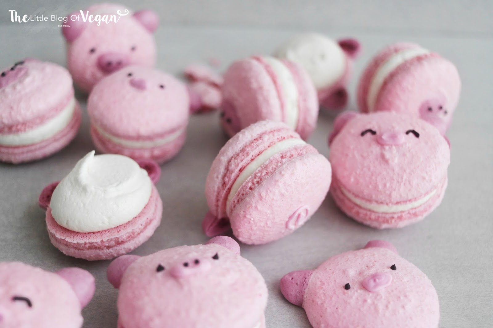 Raspberry 'pig' macaron recipe | The Little Blog Of Vegan