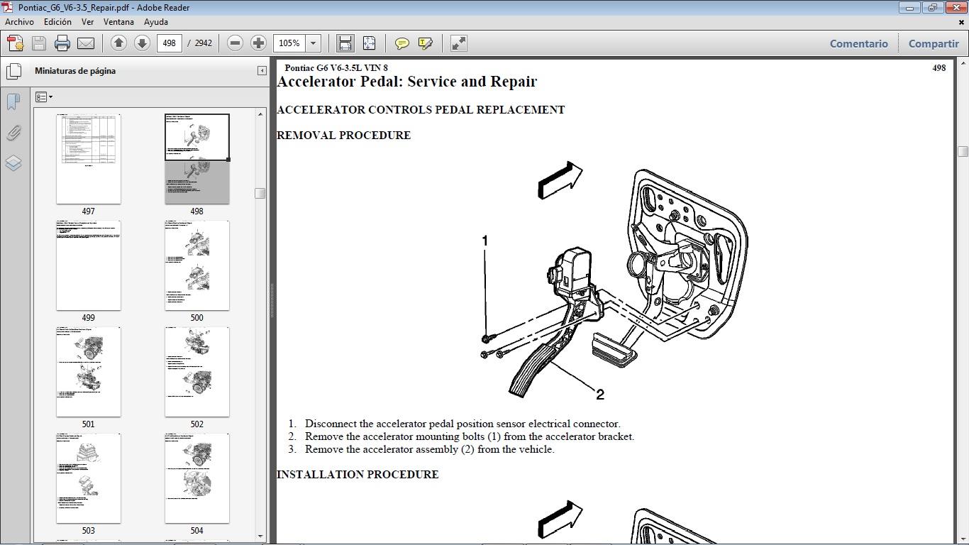 Manuales de Taller de PONTIAC: Pontiac G6 V6 3.5 2004-2010
