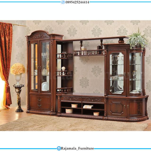 New Bufet TV Mewah Jati Jepara Pergutani Natural Luxury Classic RM-0393