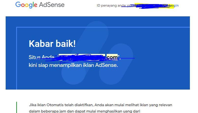 surat email dari googlle adsense saat di terima