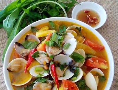 Canh chua ngao nấu dứa