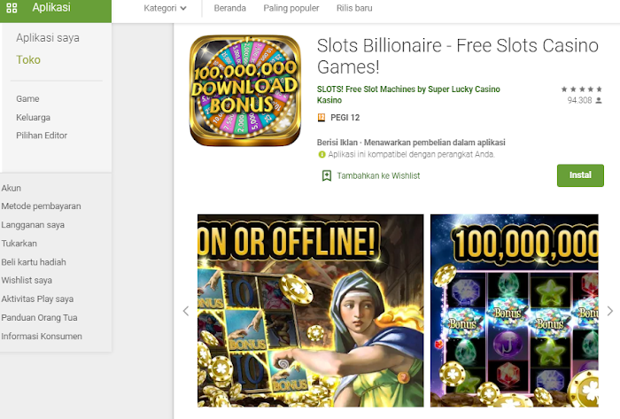 Slots Billionaire - Free Slots Casino Games, aplikasi permainan mesin slot dengan bonus koin terbanyak