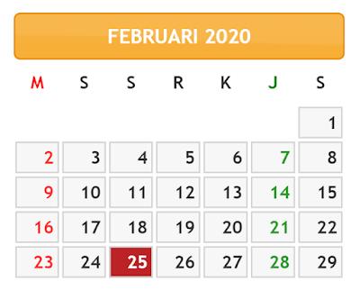 KALENDER BULAN FEBRUARI TAHUN 2020