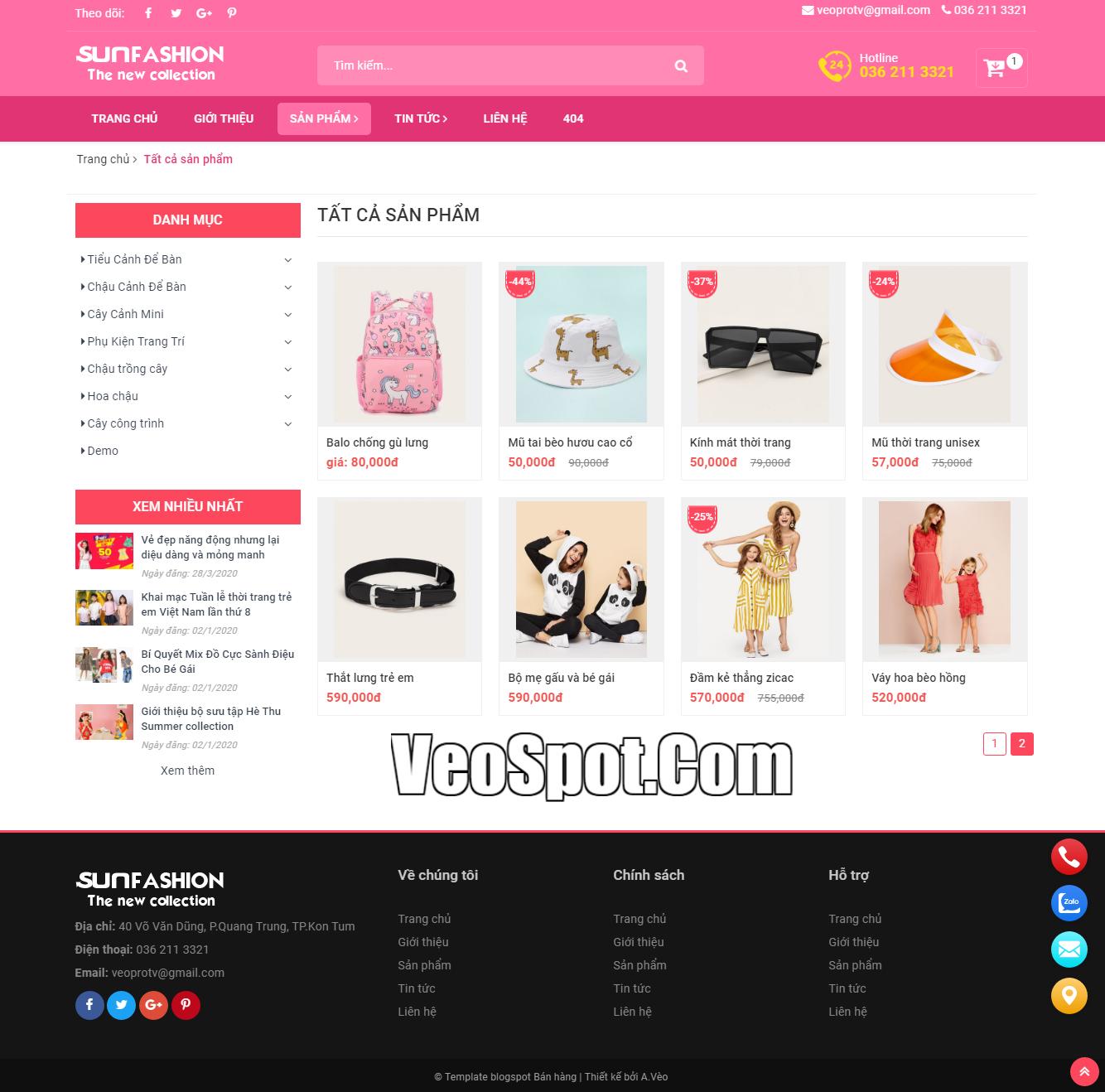Template Blogspot SunFasun trang Nhãn (Label sản phẩm)
