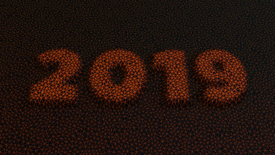2019 New Year 3D Mesh Wireframe Image