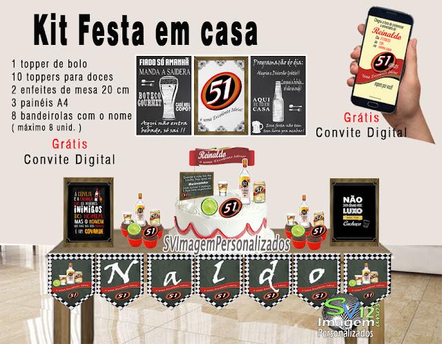 kit festa em casa Festa Boteco 51 boa idea ,dicas e ideias para decoração de festa personalizados
