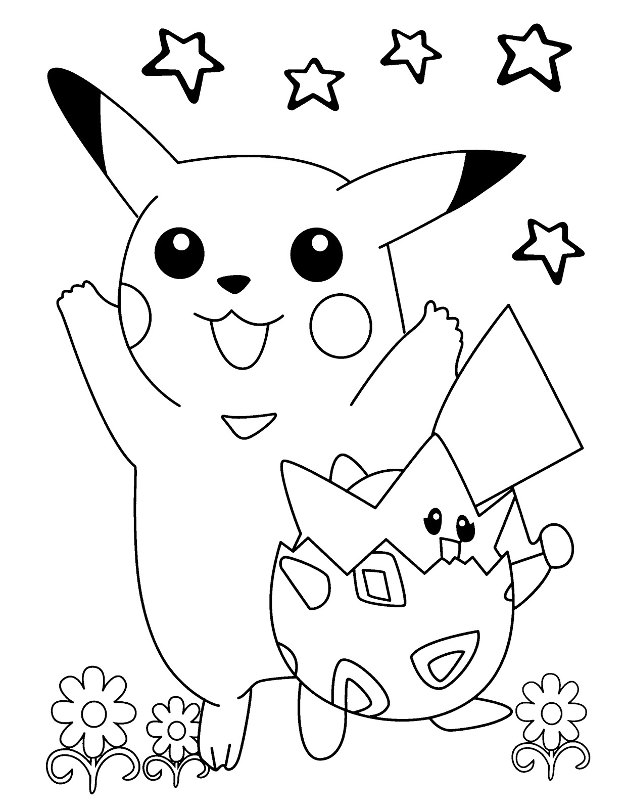 best printable pokemon pikachu and togepi coloring pages - free pokemon coloring books