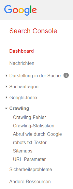 Die Crawling-Informationen in der Google Search Console.