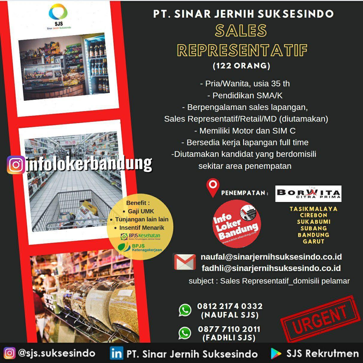 Lowongan Kerja PT. Sinar Jernih Suksesindo Bandung Desember 2019
