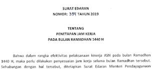 Surat Edaran Tentang Penetapan Jam Kerja PNS Bulan Ramadhan 1440 H