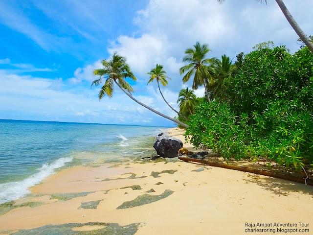 White sandy beach in Waigeo island