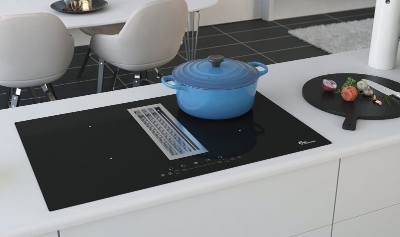 Campanas extractoras de superficie aspiraci n discreta y for Superficie cocina