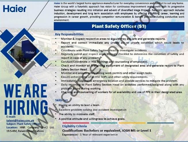 Haier Pakistan Latest  Jobs Plant Safety Officer