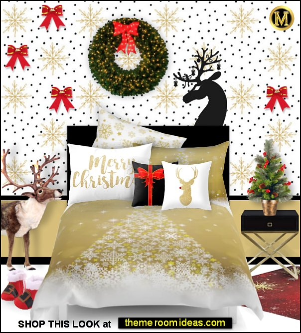 gold christmas bedding snowflakes and polka dots reindeer decor gift bow christmas rugs santa boots christmas rugs