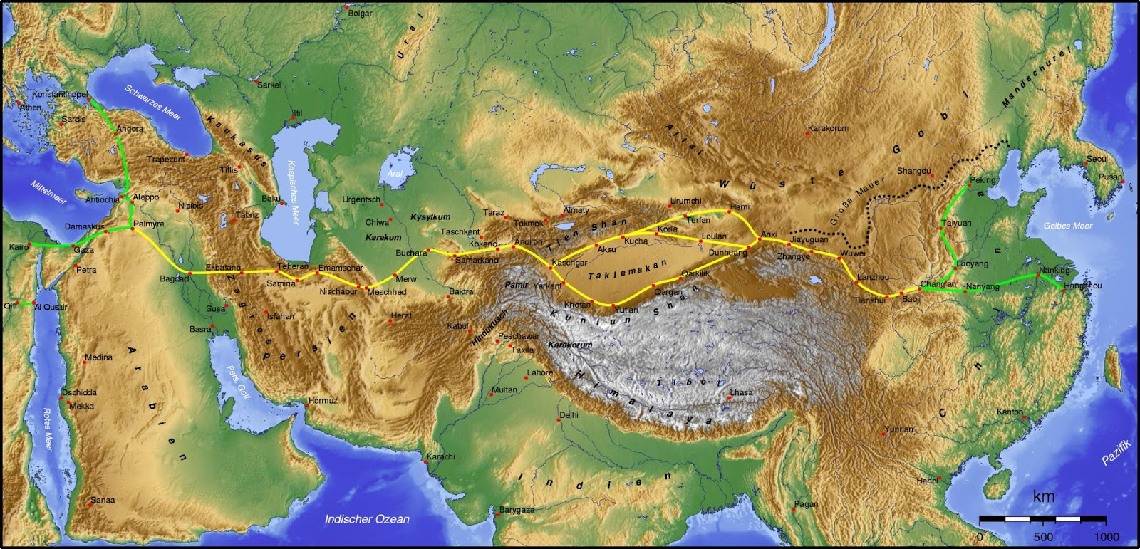 the traditional route of the silk road courtesy of wikipedia