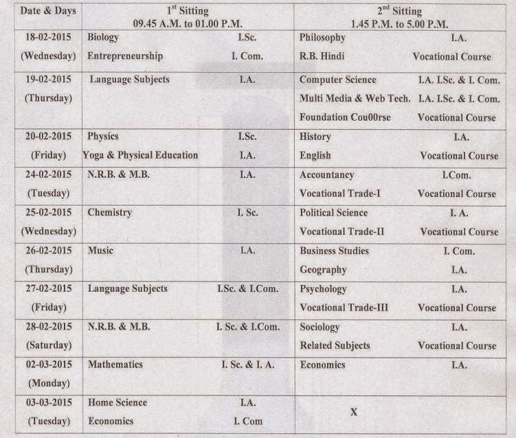 Bihar Board 12th Time Table 2015