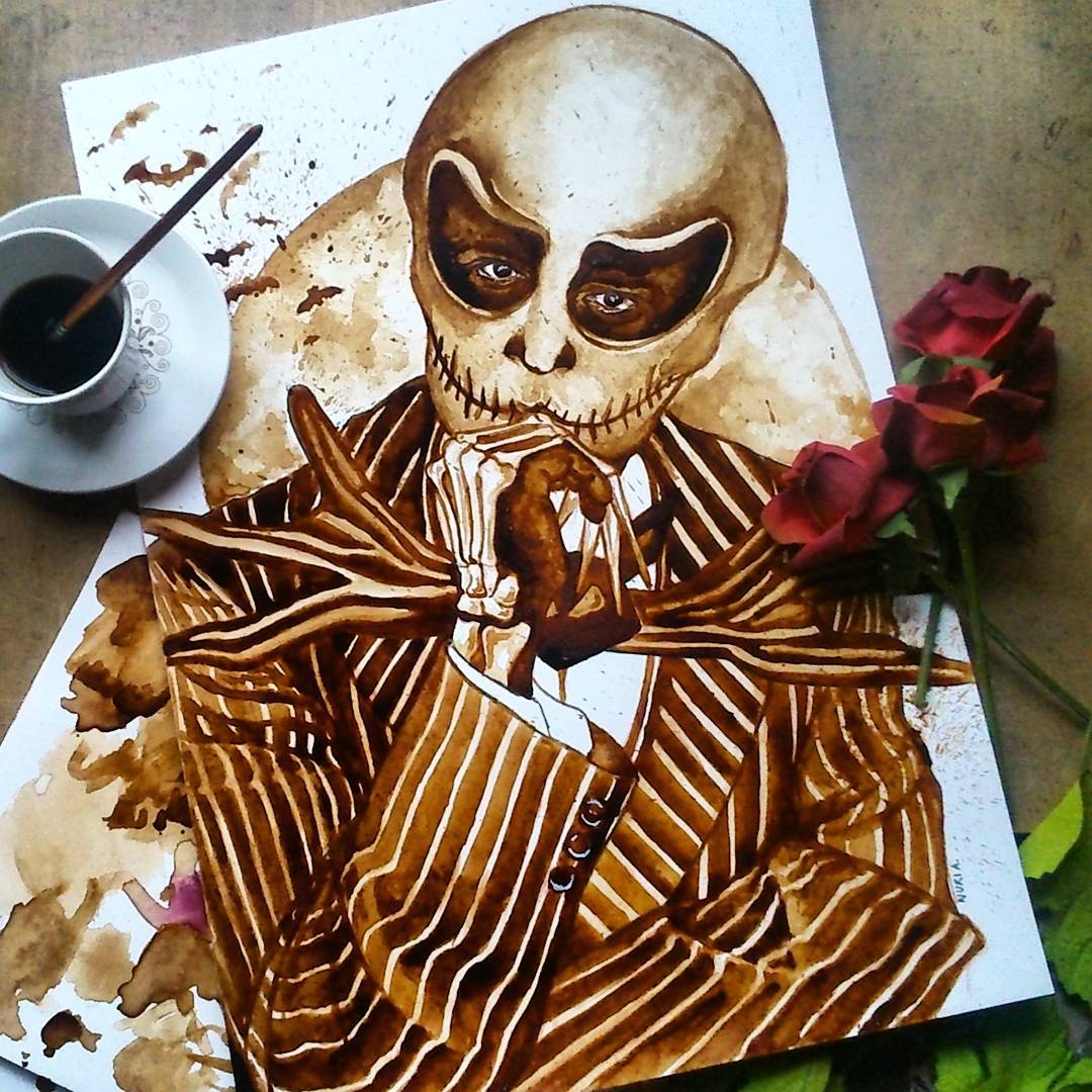 06-Johnny-Depp-as-Jack-Skellington-Nuria-Salcedo-nuriamarq-Celebrities-and-Animated-Movies-Painted-with-Coffee-and-Brown-Pencil-www-designstack-co