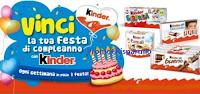 Logo Kinder e Ferrero ''Vinci la tua festa di compleanno'': 1 ogni settimana! Anticipazione