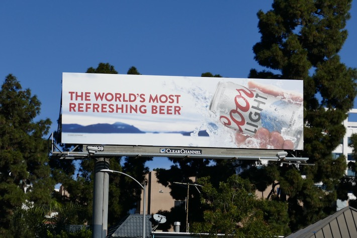 Coors Light world most refreshing beer billboard