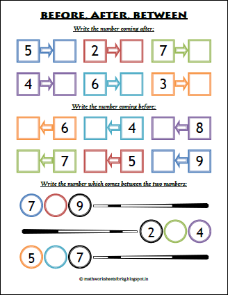 Math Worksheets For Kindergarten: Before, After, Between ...